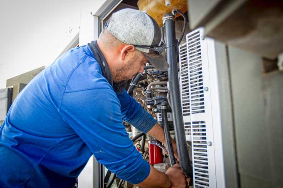 power generation service man working